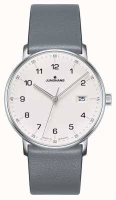 Junghans Forma reloj de correa de piel de becerro de cuarzo gris 041/4885.00