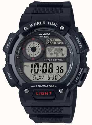Casio Cronógrafo con alarma mundial AE-1400WH-1AVEF