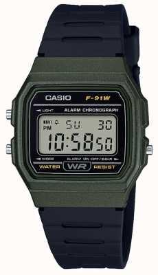 Casio Cronógrafo de alarma en caja verde y negra. F-91WM-3AEF