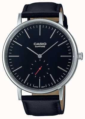 Casio Correa de cuero genuino negro cristal zafiro LTP-E148L-1AEF