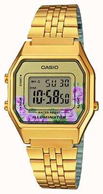 Casio Illuminator gold pvd plateado estampado floral LA680WEGA-4CEF