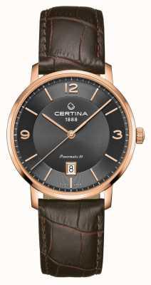 Certina Ds caimano powermatic 80 correa de cuero marrón esfera gris C0354073608700