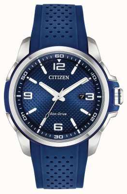 Citizen Ar caja de acero inoxidable azul con fecha de resina AW1158-05L