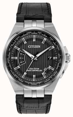 Citizen Perpetua del mundo de los hombres en la correa negra de cuero negro CB0160-00E