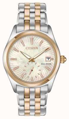 Citizen Señoras silueta de dos tonos madre perla remolino fecha de marcado EV1036-51Y