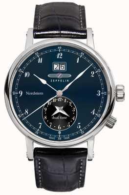 Zeppelin Nordstern dual time big date blue dial correa de cuero negro 7540-3
