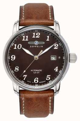 Zeppelin El | serie lz127 | fecha automática | correa de cuero marrón | 8656-3