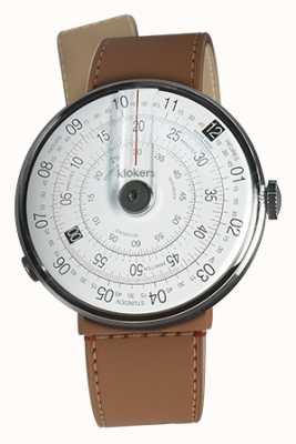 Klokers Klok 01 reloj negro cabeza caramel marrón strait single strap KLOK-01-D2+KLINK-04-LC12