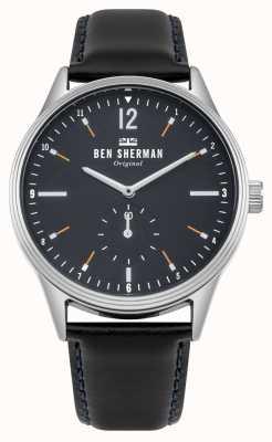Ben Sherman Esfera azul marino mate y correa de piel negra WB015UB