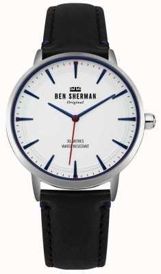 Ben Sherman Esfera blanca mate y correa de cuero negro WB020B