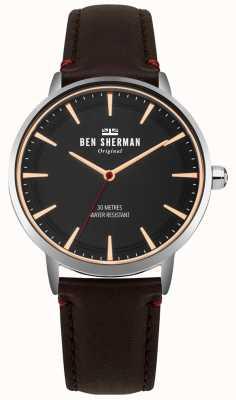 Ben Sherman Esfera negra mate y correa de cuero marrón WB020BR