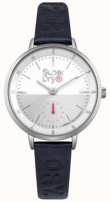 Superdry Mujer ascott segundos sub dial acero inoxidable azul cuero SYL159U