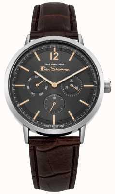 Ben Sherman Caja de acero inoxidable con fecha y día correa de cuero marrón BS011EBR