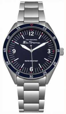 Ben Sherman Caja y brazalete en acero inoxidable plateado azul marino BS007USM