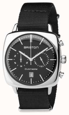 Briston Mens clubmaster vintage acero cronógrafo negro textil 17140.PS.V.1.NB