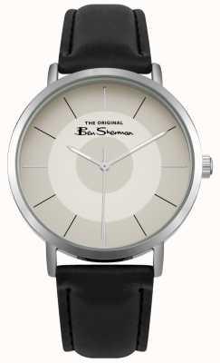 Ben Sherman Crema de cuero multisala de caja de acero inoxidable de cuero negro BS014WB