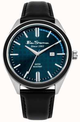 Ben Sherman Cronógrafo azul oscuro con correa de cuero negro BS004UB