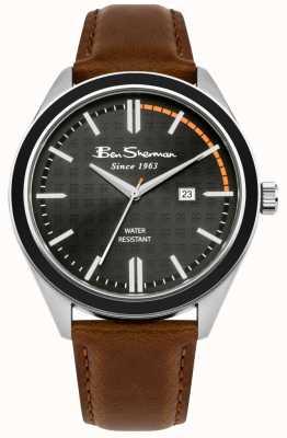 Ben Sherman Exhibición de fecha del dial con estampado negro correa de piel bronceada BS004BT
