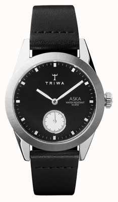 Triwa Pizarra aska esfera negra caja de acero inoxidable cuero negro AKST107-SS010212