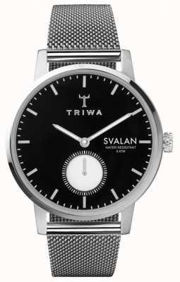 Triwa Ebony svalan negro dial malla de acero inoxidable pulsera SVST103-MS121212