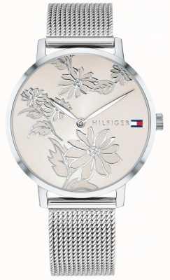 Tommy Hilfiger Pippa rosa plata floral impresión dial malla de acero inoxidable 1781920