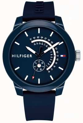 Tommy Hilfiger Blue denim day & date display correa de caucho azul 1791482