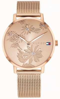 Tommy Hilfiger Pippa rosa oro estampado floral dial caja de oro rosa y malla 1781922