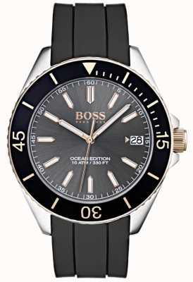 Hugo Boss Correa de goma negra de la fecha del dial gris de la edición del océano 1513558