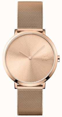 Lacoste Dial de oro rosa de la luna y correa de malla de oro rosa 2001028