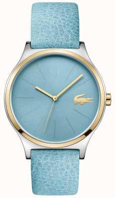 Lacoste Dial azul cielo dos tonos correa de cuero azul 2001012