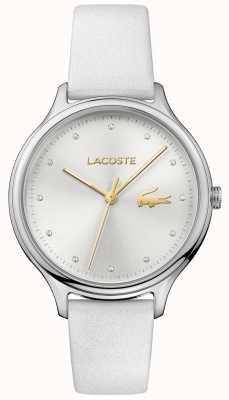 Lacoste Conjunto de cristal Constance para mujer con esfera plateada correa de piel blanca 2001005