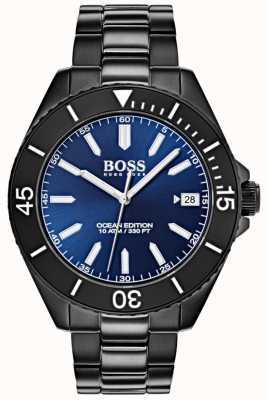 Hugo Boss Pulsera de IP negra con fecha en la esfera del mar 1513559