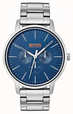 Hugo Boss Orange Pulsera de acero inoxidable con fecha y día en color azul 1550067