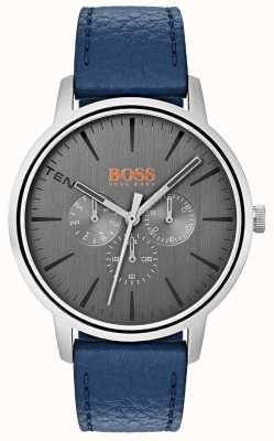 Hugo Boss Orange Dial gris día y fecha sub dial azul correa de cuero 1550066