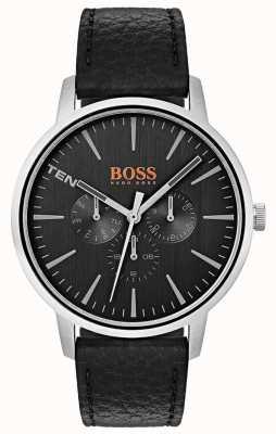 Hugo Boss Orange Dial negro día y fecha marca la correa de cuero negro 1550065
