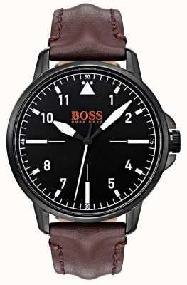 Hugo Boss Orange Esfera negra, correa de cuero marrón oscuro, estuche negro con revestimiento de ip 1550062