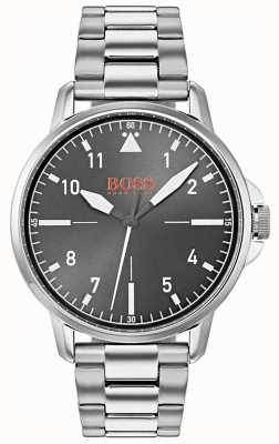 Hugo Boss Orange Brazalete de acero inoxidable plateado negro 1550064