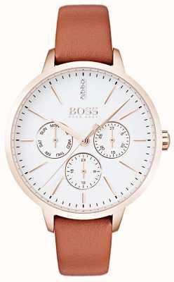 Boss Esfera blanca dia y fecha display oro rosa estuche cuero marrón 1502420