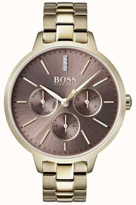 Hugo Boss Ladies symphony lila dial day & date sub dial gold case 1502422