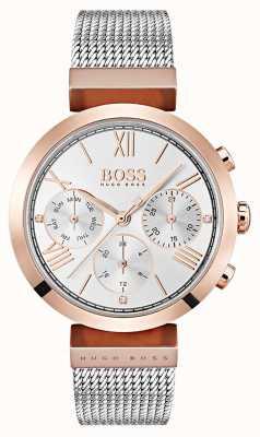 Hugo Boss Pulsera de malla de números romanos de día y fecha de esfera plateada 1502427