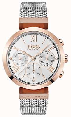 Boss Dial de plata con fecha y día números romanos pulsera de malla 1502427