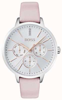 BOSS Esfera plateada día y fecha subesfera cristal set cuero rosa 1502419