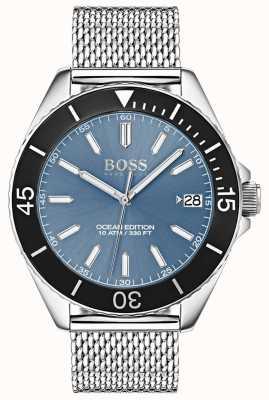Hugo Boss Dial azul claro bisel negro edición océano correa de malla 1513561
