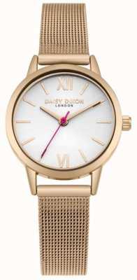 Daisy Dixon Vivimos la correa de malla de oro rosa de dial blanco de moda DD069RGM