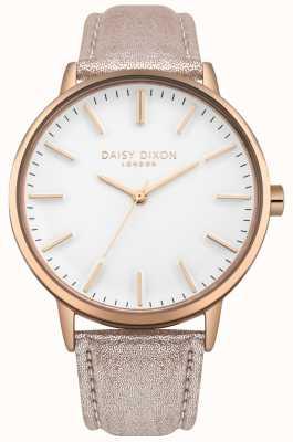 Daisy Dixon Señoras Harper esfera blanca caja de oro rosa correa de cuero rosa DD061CRG