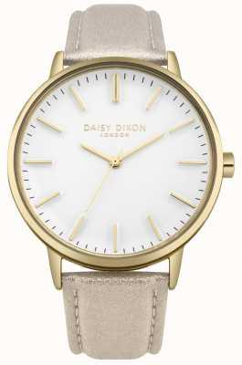 Daisy Dixon Ladies harper white dial caja dorada correa de cuero rosa DD061GG