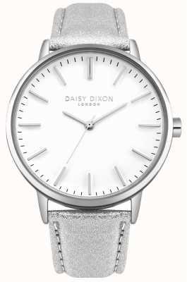 Daisy Dixon Ladies harper white dial silver case correa de cuero plateado DD061SS