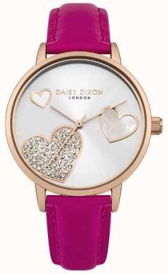 Daisy Dixon Las mujeres hollie se levantaron la caja de oro de cristal fijaron el dial plateado de plata DD076PRG