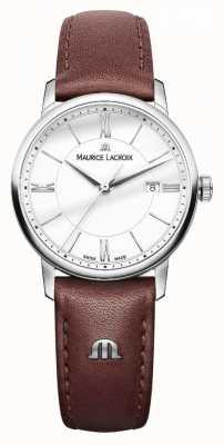 Maurice Lacroix Correa de cuero marrón mujer eliros plata dialladies EL1094-SS001-110-1