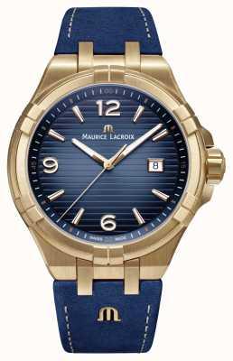 Maurice Lacroix Mens aikon edición limitada bronce caja azul correa de ternera AI1028-BRZ01-420-1